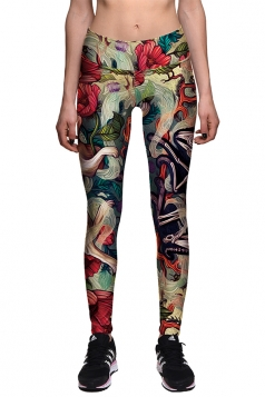Womens Skinny Skeleton And Rabbit Printed Halloween Leggings Khaki