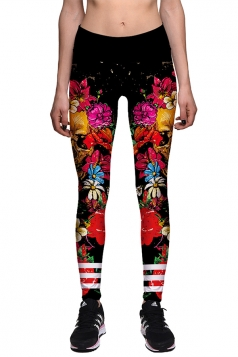 Womens Skinny Skull And Flower Printed Halloween Leggings Red