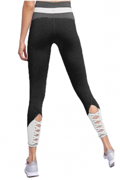 Womens Skinny Elastic Lace Up High Waisted Leggings Black