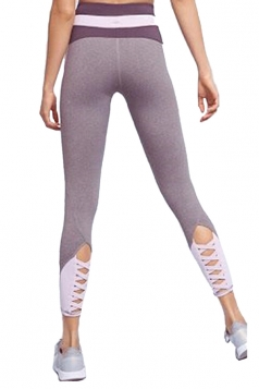 Womens Skinny Elastic Lace Up High Waisted Leggings Gray