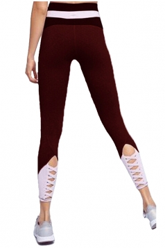 Womens Skinny Elastic Lace Up High Waisted Leggings Ruby