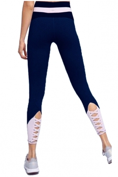 Womens Skinny Elastic Lace Up High Waisted Leggings Navy Blue