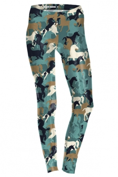 Womens Ankle Length Skinny Unicorn Printed Leggings Army Green