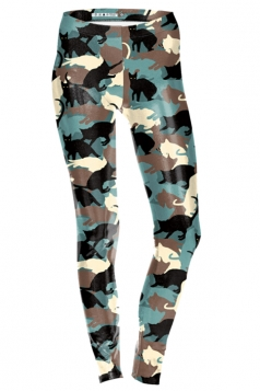 Womens Skinny Ankle Length Cats Printed Leggings Brown