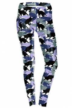 Womens Skinny Ankle Length Cats Printed Leggings Purple