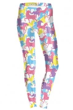 Womens Ankle Length Skinny Unicorn Printed Leggings Pink