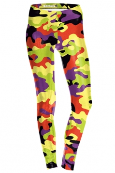 Womens Slimming Ankle Length Camouflage Printed Leggings Yellow
