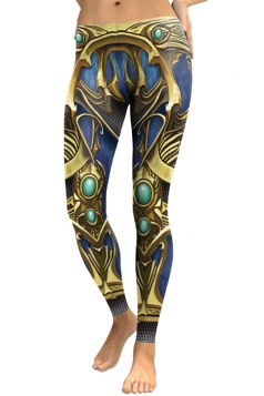 Womens Skinny Elastic Ankle Length Armour Printed Leggings Gold