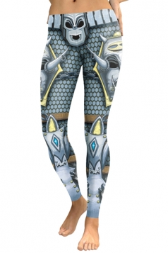 Womens Skinny Elastic Ankle Length Devil Printed Leggings Silver