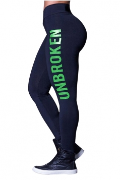 Womens Skinny High Waisted Words Printed Leggings Green