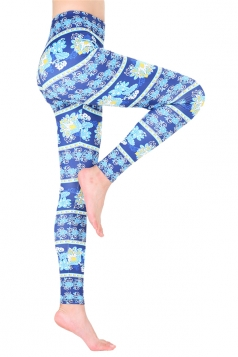 Womens Ankle Length Christmas Snowflake Printed Leggings Blue