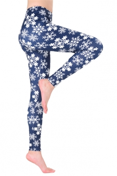 Womens Trendy Elastic Christmas Snowflake Printed Leggings Beige White