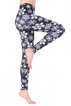 Womens Trendy Elastic Christmas Snowflake Printed Leggings Dull Black