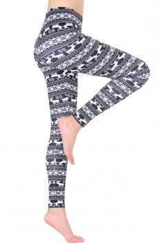 Womens Ankle Length Reindeer And Snowflake Printed Leggings Dark Gray