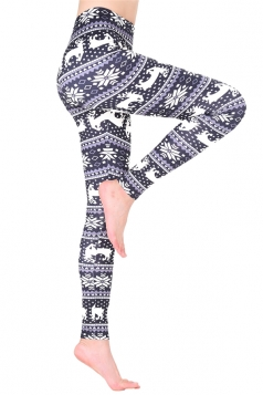 Womens High Waisted Christmas Snowflake Printed Leggings Dark Purple