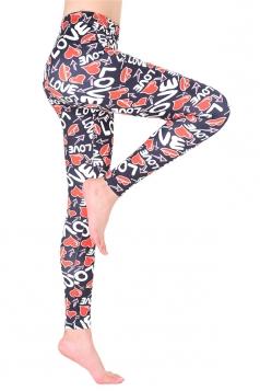 Womens High Waisted Skinny Hearts Printed Leggings Dark Red