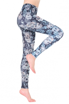 Womens Casual High Waisted Halloween Skull Printed Leggings Gray