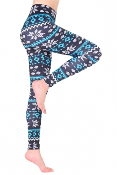 Womens Casual Skinny Christmas Snowflake Printed Leggings Light Blue