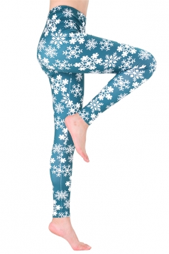 Womens High Waisted Christmas Snowflake Printed Leggings Light Green