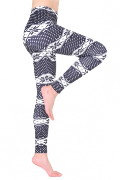 Womens Ankle Length Christmas Snowflake Printed Leggings Light Gray