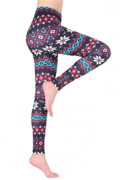 Womens Trendy Ankle Length Christmas Snowflake Printed Leggings