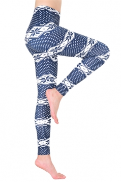 Womens Ankle Length Christmas Snowflake Printed Leggings Sapphire Blue
