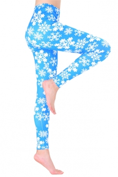 Womens Trendy Elastic Christmas Snowflake Printed Leggings Turquoise