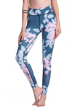 Womens Elastic High Waisted Leaves Flower Printed Leggings Light Pink