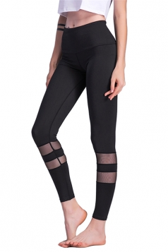 Womens Close-Fitting Skinny High Waisted Printed Leggings Dull Black