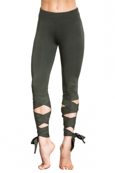 Womens Sexy Skinny Lace Up Ankle Length Plain Leggings Army Green