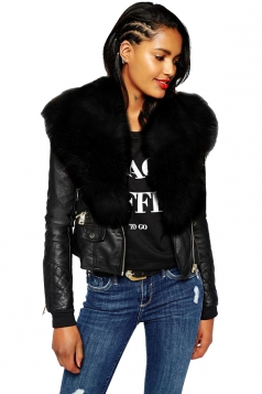 Womens Trendy Zipper Faux Fur Long Sleeve Plain Leather Jacket Black