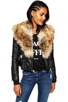 Womens Trendy Zipper Faux Fur Long Sleeve Plain Leather Jacket Yellow