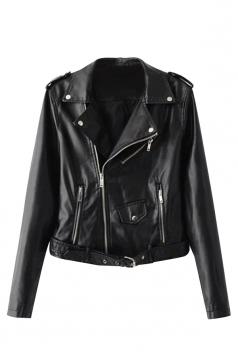 Womens Turndown Collar Epaulet Zipper Belt Leather Jacket Black