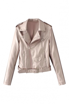 Womens Turndown Collar Epaulet Zipper Belt Leather Jacket Light Pink