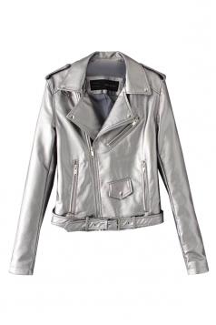 Womens Turndown Collar Epaulet Zipper Belt Leather Jacket Silver