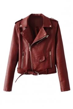 Womens Turndown Collar Epaulet Zipper Belt Leather Jacket Ruby