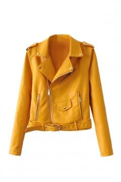 Womens Turndown Collar Epaulet Zipper Belt Leather Jacket Yellow