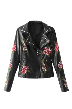 Womens Turndown Collar Zipper Studded Flower Printed Jacket Black