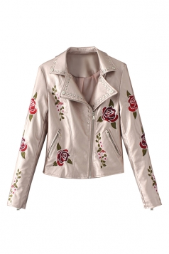 Womens Turndown Collar Zipper Studded Flower Printed Jacket Pink