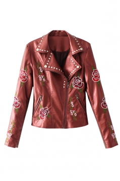 Womens Turndown Collar Zipper Studded Flower Printed Jacket Ruby