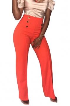 Womens Double-Breasted High Waist Wide Legs Leisure Pants Orange