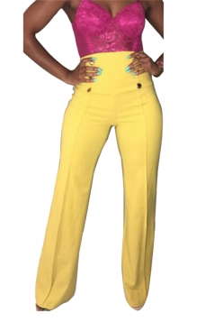 Womens Double-Breasted High Waist Wide Legs Leisure Pants Yellow