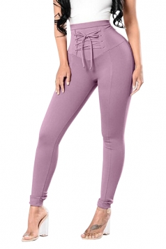 High Waist Cross Lace Up Elastic Oversized Leisure Pants Light Purple