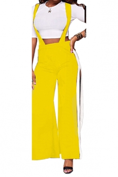 Womens Sexy Side Slit Loose Hem Leisure Bib Pants Yellow