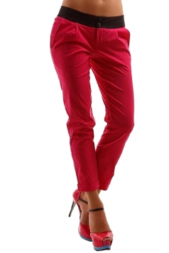 Womens Slimming Buttons Ruffle High Waisted Plain Pencil Pants Red