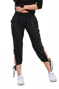 Womens Lace Up Cut Out Pockets High Waisted Plain Leisure Pants Black