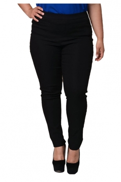 Womens Plus Size Ankle Length Plain Leisure Pants Black