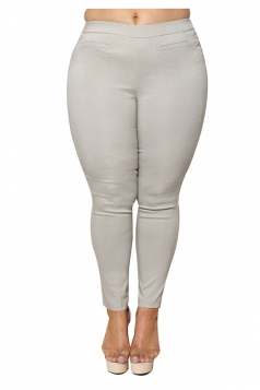Womens Plus Size Ankle Length Plain Leisure Pants Gray