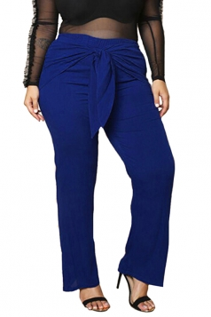 Womens Plus Size Bow Bandage Ankle Length Plain Leisure Pants Blue