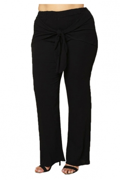 Womens Plus Size Bow Bandage Ankle Length Plain Leisure Pants Black